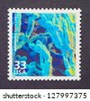 UNITED STATES � CIRCA 1999: a postage stamp printed in USA showing an image of 3d bacteria to celebrate the existence of antibiotics, circa 1999. - stock photo