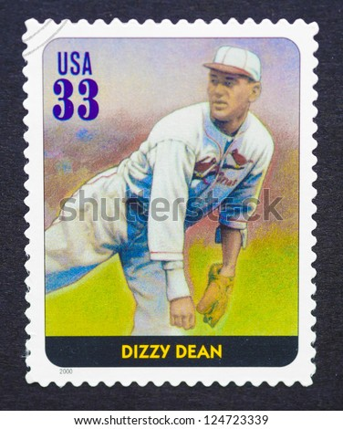 UNITED STATES - CIRCA 2000: a postage stamp printed in USA showing an image of Dizzy Dean, circa 2000.