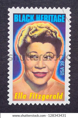 UNITED STATES � CIRCA 2007: a postage stamp printed in USA showing an image of Ella Fitzgerald, circa 2007.