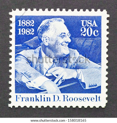 UNITED STATES - CIRCA 1982: a postage stamp printed in USA showing an image of president Theodore Roosevelt, circa 1982.   - stock photo