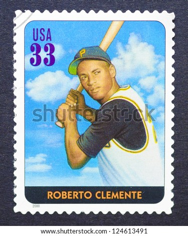 UNITED STATES - CIRCA 2000: a postage stamp printed in USA showing an image of Roberto Clemente, circa 2000.