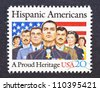 UNITED STATES - CIRCA 1984: a postage stamp printed in USA showing an image of seven proud hispanic americans marines, soldiers and veterans, circa 1984. - stock photo