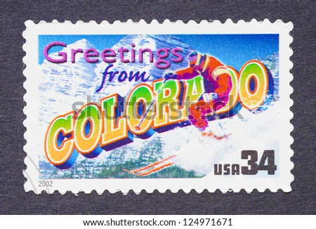 UNITED STATES - CIRCA 2002: a postage stamp printed in USA showing an image of the Colorado state, circa 2002. - stock photo