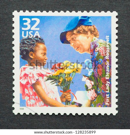 UNITED STATES � CIRCA 1998: a postage stamp printed in USA showing an image of the first Lady Eleanor Roosevelt, circa 1998. - stock photo