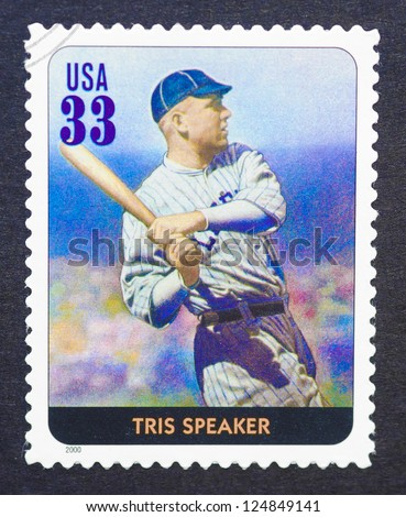 UNITED STATES - CIRCA 2000: A postage stamp printed in USA showing an image of Tris Speaker, circa 2000.