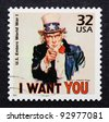 UNITED STATES – CIRCA 1998: A postage stamp printed in USA showing an image of Uncle Sam from World War I used in military recruitment campaign, circa 1998. - stock photo