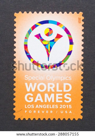 UNITED STATES - CIRCA 2015: a postage stamp printed in USA to commemorate Los Angeles Special Olympics World Games, circa 2015.  - stock photo