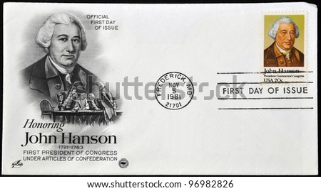 UNITED STATES - CIRCA 1981: A postcard printed in USA shows John Hanson, circa 1981