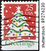 UNITED STATES - CIRCA 1990: A stamp printed by United States of America, shows Christmas Tree, circa 1990 - stock photo