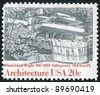 UNITED STATES - CIRCA 1982: A stamp printed by United States of America, shows Fallingwater, Mill Run,  by Frank Lloyd Wright, circa 1982 - stock photo