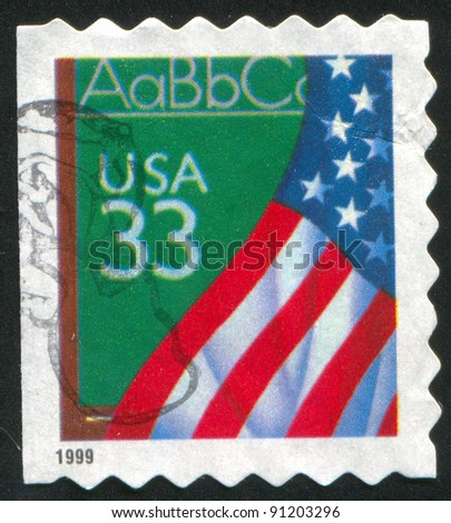 UNITED STATES - CIRCA 1999: A stamp printed by United states, shows flag, circa 1999