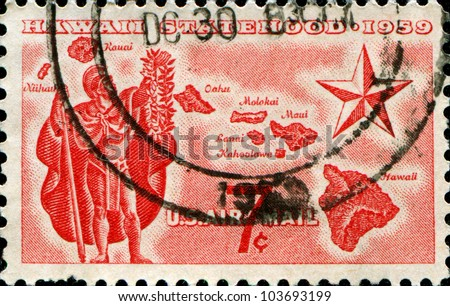 UNITED STATES - CIRCA 1959: A stamp printed in the United States shows Alii Warrior, Map of Hawaii and Star of Statehood, circa 1959 - stock photo