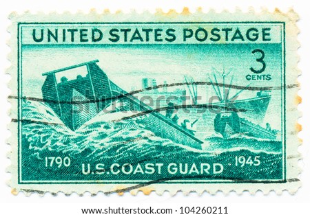 UNITED STATES - CIRCA 1945: A stamp printed in the United States, shows Coast Guard Landing Craft and Supply Ship, circa 1945