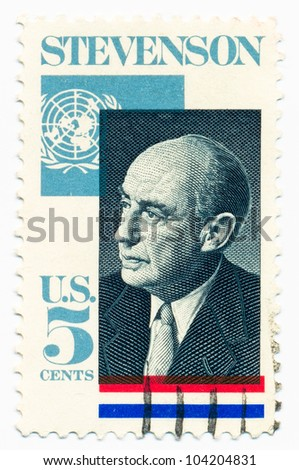 UNITED STATES - CIRCA 1965: A stamp printed in the United States, shows portrait of Adlai E. Stevenson (1900-1965), was an American politician, circa 1965