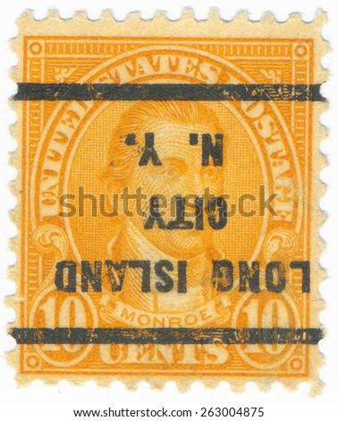 """UNITED STATES - CIRCA 1923: A stamp printed in the United States, shows portrait of the James Monroe (1758-1831) and overprint """"Long Island City N.Y."""", circa 1923 - stock photo"""