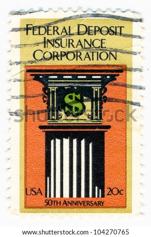 UNITED STATES - CIRCA 1984: A stamp printed in the United States, shows symbols of the financial, Federal Deposit Insurance Corp., 50th Anniv., circa 1984 - stock photo