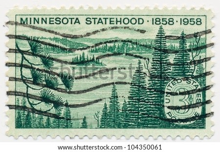 UNITED STATES - CIRCA 1958: A stamp printed in the United States, shows the Minnesota Lakes and Pines, Minnesota Statehood Centenary, circa 1958