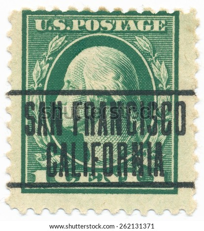 "UNITED STATES - CIRCA 1914: A stamp printed in the United States, shows the portrait of the George Washington (1732-1799) first President of the US and postmark ""San Francisco California"", circa 1914 - stock photo"