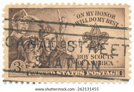 UNITED STATES - CIRCA 1950: A stamp printed in the United States, shows the Three Boys, Statue of Liberty and Scout Badge, circa 1950 - stock photo
