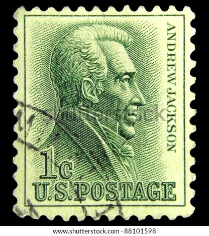 """UNITED STATES - CIRCA 1962: A stamp printed in United states shows Andrew Jackson (1767-1845) - Seventh President, without inscription from the series """"Famous Americans"""", circa 1962 - stock photo"""