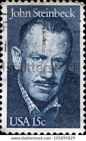 UNITED STATES - CIRCA 1979: A stamp printed in United states shows John Steinbeck (1902-1968), circa 1979 - stock photo