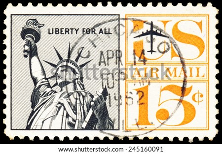 UNITED STATES - CIRCA 1950 : A stamp printed in United States. Statue of Liberty Airmail postage stamp. United States - CIRCA 1950. - stock photo