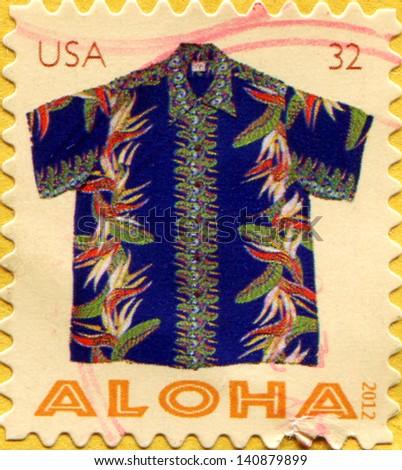 UNITED STATES - CIRCA 2012: A stamp printed in USA shows Aloha Shirt, circa 2012 - stock photo