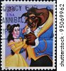 UNITED STATES - CIRCA 2006: A stamp printed in USA shows cartoon, Disney Characters, Beauty and the Beast, circa 2006 - stock photo