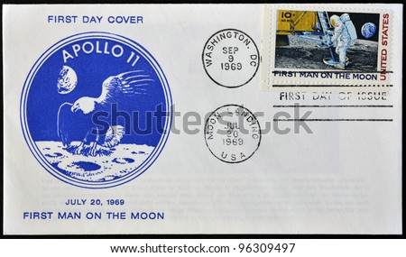 UNITED STATES - CIRCA 1969: A stamp printed in USA shows Neil Armstrong, first man on the moon, apollo 11, circa 1969