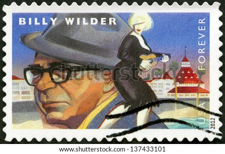 UNITED STATES - CIRCA 2012: A stamp printed in USA shows portrait of Billy Wilder (1906-2002), scene from Some Like It Hot, circa 2012 - stock photo