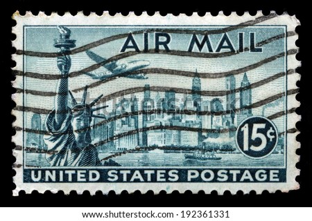 UNITED STATES - CIRCA 1948: A United States Airmail Postage Stamp depicting an image of the New York skyline, circa 1948. - stock photo