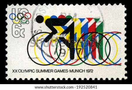 UNITED STATES - CIRCA 1972: A United States Postage Stamp celebrating the 1972 Summer Olympic Games held in Munich, circa 1972. - stock photo
