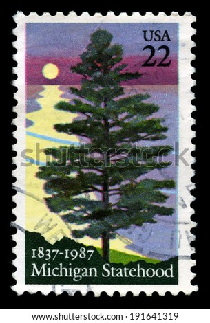 UNITED STATES - CIRCA 1987: A United States Postage Stamp celebrating the 150th Anniversary of the Statehood of Michigan, circa 1987. - stock photo