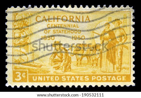 UNITED STATES, CIRCA 1950: A United States Postage Stamp commemorating the 100th Anniversary of California Statehood, circa 1950.