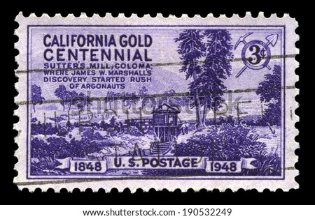 UNITED STATES, CIRCA 1948: A United States Postage Stamp commemorating the 100th Anniversary of the discovery of Gold in Calirfonia, circa 1948.