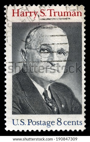 UNITED STATES, CIRCA 1973: A United States Postage Stamp depicting an image of the 33rd President of the United States Harry S. Truman, circa 1973.