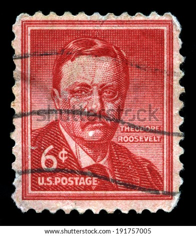 UNITED STATES - CIRCA 1958: A United States Postage Stamp depicting an image of Theodore Roosevelt - the 26th President of the United States of America, circa 1958. - stock photo