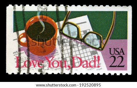 UNITED STATES - CIRCA 1987: A United States Postage Stamp with a 'Love you Dad' Message, circa 1987.