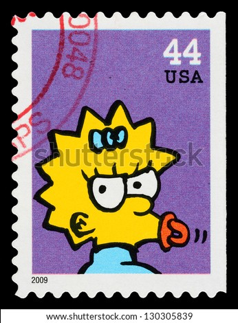 UNITED STATES - CIRCA 2009: A Used Postage Stamp printed in the United States, showing Maggie Simpson from the Simpsons TV Show, circa 2009