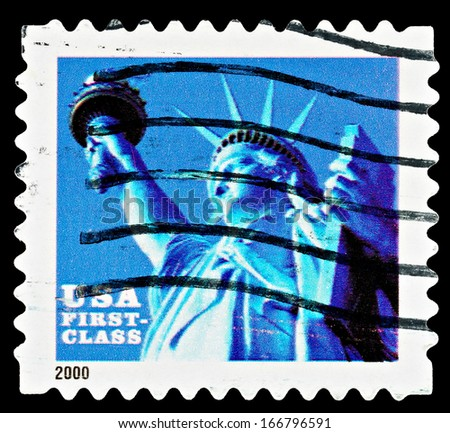 UNITED STATES - CIRCA 2000: A Used USA Postage Stamp showing the Statue of Liberty, circa 2000 - stock photo