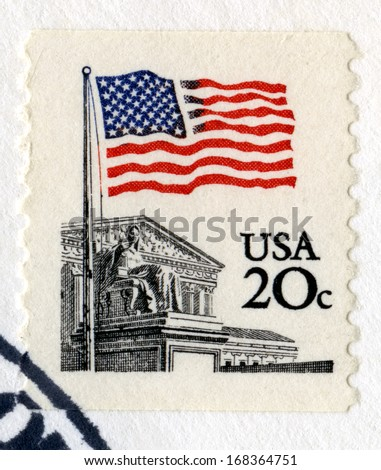 UNITED STATES, CIRCA 1983: A vintage 20 cent US Postage Stamp, circa 1983. - stock photo