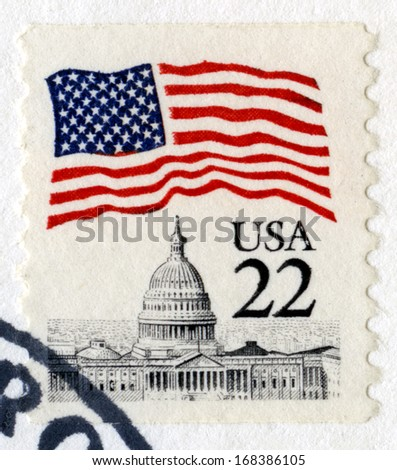 UNITED STATES, CIRCA 1983: A vintage 22 cent US Postage Stamp, circa 1983. - stock photo