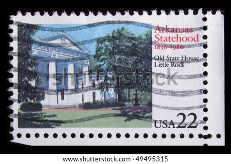 "UNITED STATES - CIRCA 1986: depicting capitol building, in-scription :Arkansas Statehood 1836-1986 old State House Little Rock"" , value 22c, circa 1986"