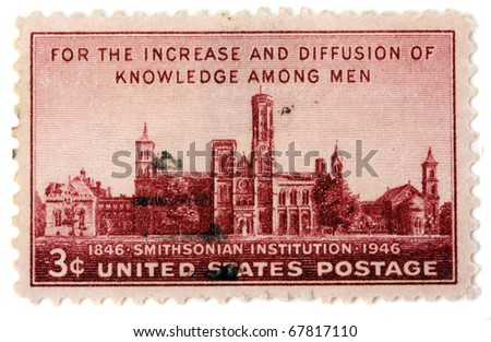 "UNITED STATES - CIRCA 1946: Depicting , with inscription ""For the Increase and Diffusion of Knowledge among Men"" and ""1846 Smithsonian Institution 1946"",  printed in the United States, circa 1946"