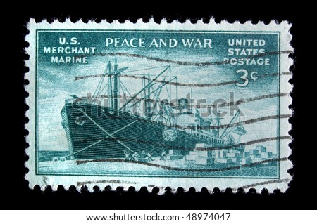 "UNITED STATES - CIRCA 1945: Depicting , with inscription ""U.S. Merchant Marine"" and ""Peace and War"", color green, face value 3 cents, circa 1945"