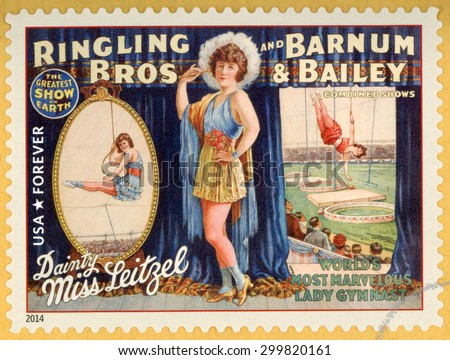 UNITED STATES - CIRCA 2014: forever stamp printed in USA (US) shows Dainty Miss Leitzel; worldâ??s most marvelous lady gymnast; circus vintage posters; Ringling Bros, Barnum & Bailey; circa 2014 - stock photo