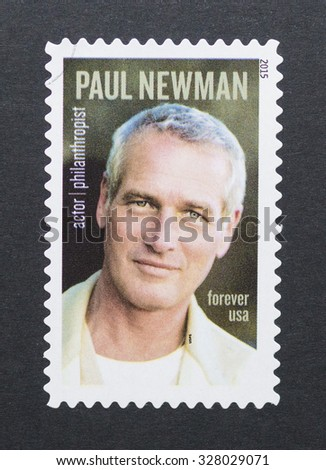 UNITED STATES - CIRCA 2015: postage stamp printed in USA showing an image of actor Paul Newman, circa 2015.