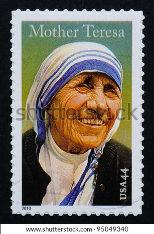 UNITED STATES – CIRCA 2010: postage stamp printed in USA showing an image of mother Teresa, circa 2010. - stock photo