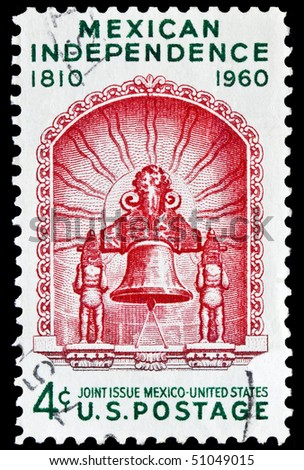 UNITED STATES - CIRCA 1960's : A stamp printed in United States.  Mexican independence. United States - CIRCA 1960's