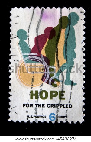 UNITED STATES - CIRCA 1980s: A stamp printed in USA shows boy leaves the wheelchair, circa 1980s - stock photo